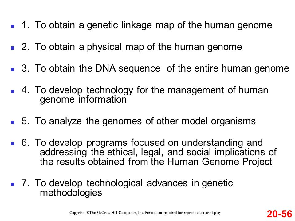1.To obtain a genetic linkage map of the human genome 2.