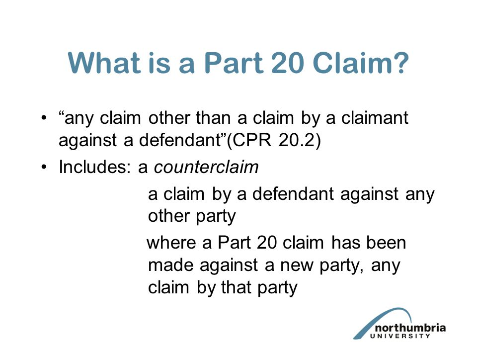 What is a Part 20 Claim.