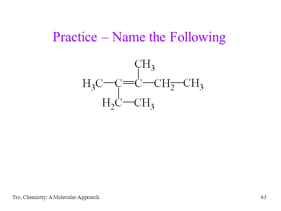 Tro, Chemistry: A Molecular Approach63 Practice – Name the Following