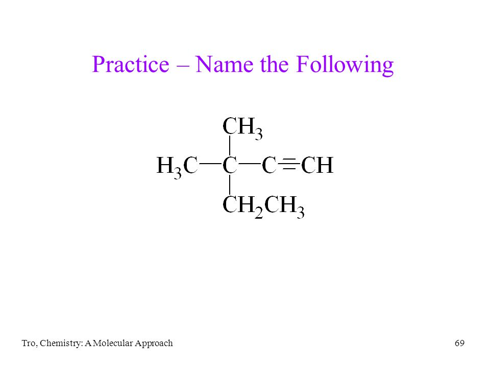 Tro, Chemistry: A Molecular Approach69 Practice – Name the Following