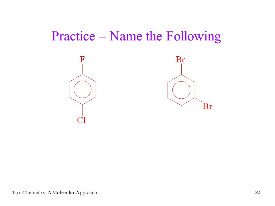 Tro, Chemistry: A Molecular Approach84 Practice – Name the Following