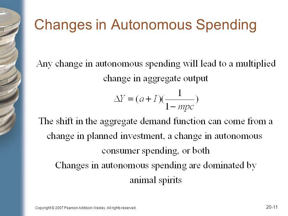 Copyright © 2007 Pearson Addison-Wesley. All rights reserved. 20-11 Changes in Autonomous Spending