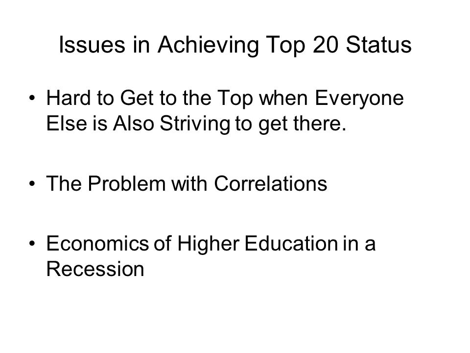 Issues in Achieving Top 20 Status Hard to Get to the Top when Everyone Else is Also Striving to get there.