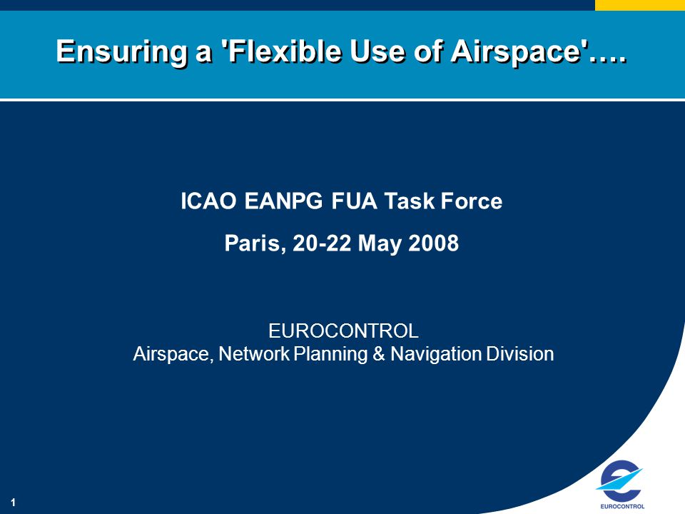 1 Ensuring a 'Flexible Use of Airspace'…. ICAO EANPG FUA Task Force Paris, 20-22 May 2008 EUROCONTROL Airspace, Network Planning & Navigation Division