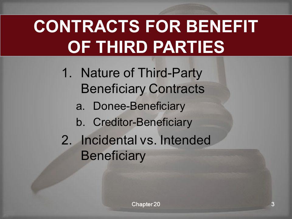 1.Nature of Third-Party Beneficiary Contracts a.Donee-Beneficiary b.Creditor-Beneficiary 2.Incidental vs.