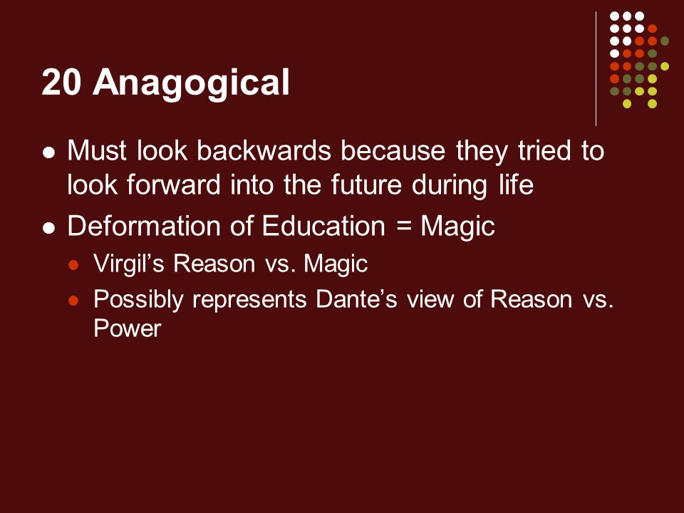 20 Anagogical Must look backwards because they tried to look forward into the future during life Deformation of Education = Magic Virgil's Reason vs.