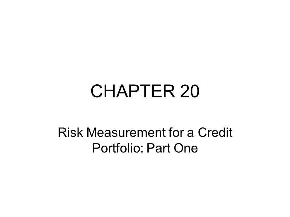CHAPTER 20 Risk Measurement for a Credit Portfolio: Part One