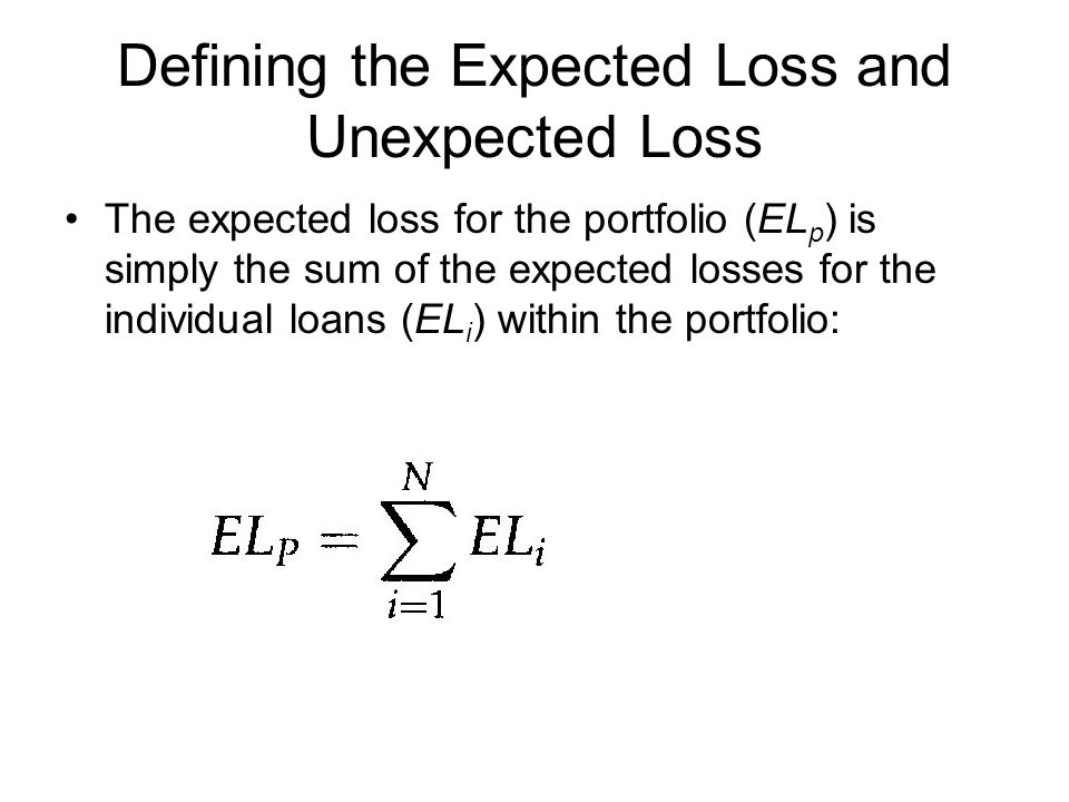 Defining the Expected Loss and Unexpected Loss The expected loss for the portfolio (EL p ) is simply the sum of the expected losses for the individual