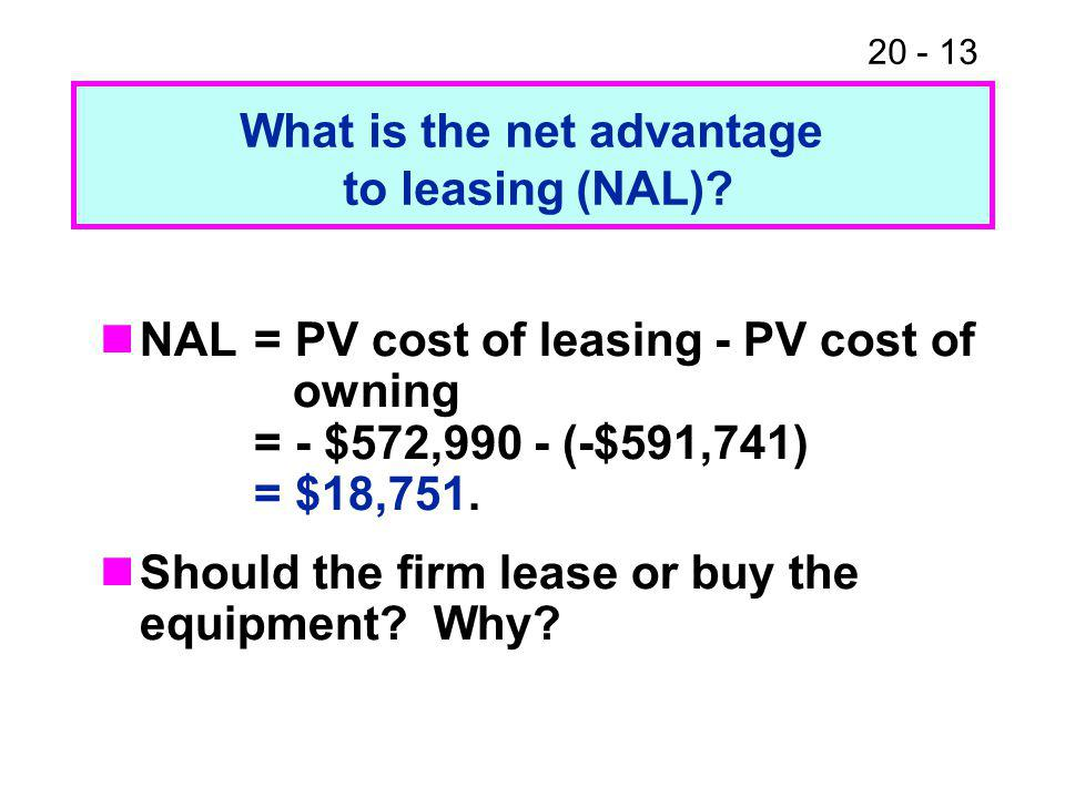 20 - 13 NAL= PV cost of leasing - PV cost of owning = - $572,990 - (-$591,741) = $18,751.
