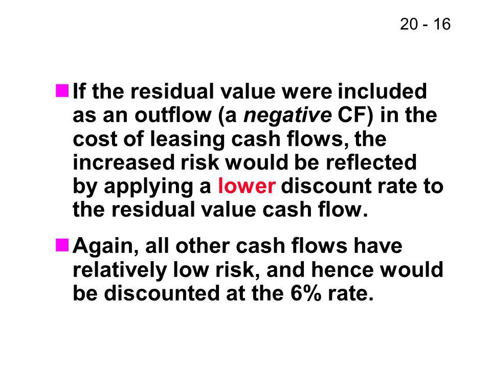 20 - 16 If the residual value were included as an outflow (a negative CF) in the cost of leasing cash flows, the increased risk would be reflected by applying a lower discount rate to the residual value cash flow.
