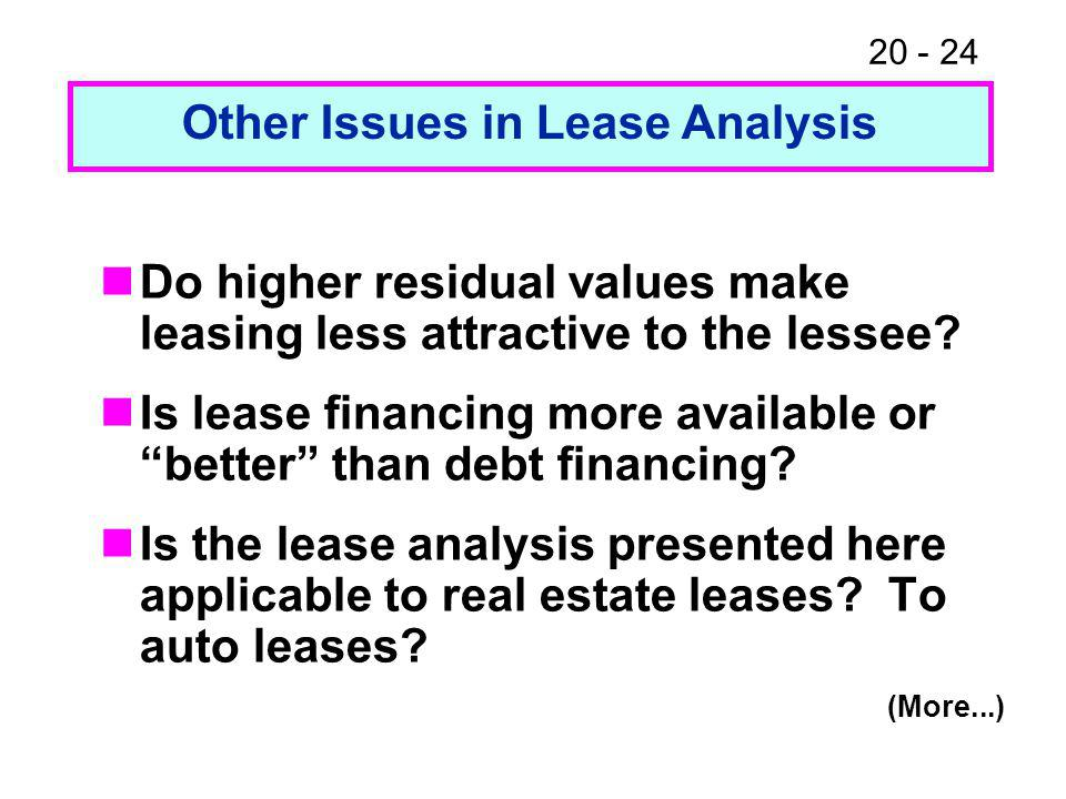 """20 - 24 Do higher residual values make leasing less attractive to the lessee? Is lease financing more available or """"better"""" than debt financing? Is th"""