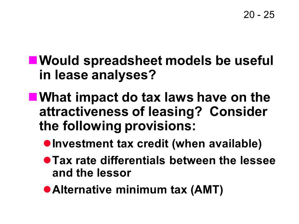 20 - 25 Would spreadsheet models be useful in lease analyses? What impact do tax laws have on the attractiveness of leasing? Consider the following pr