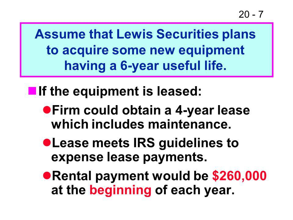 20 - 7 If the equipment is leased: Firm could obtain a 4-year lease which includes maintenance. Lease meets IRS guidelines to expense lease payments.