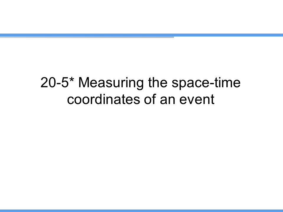 20-5* Measuring the space-time coordinates of an event