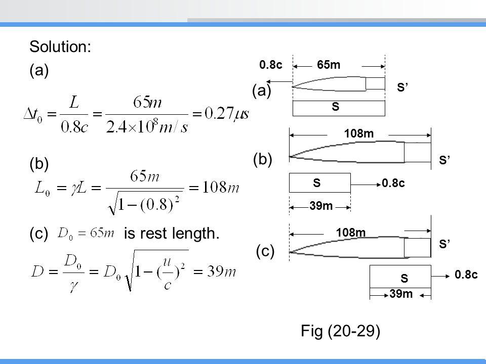 Solution: (a) (b) (c) is rest length. 65m0.8c 108m 0.8c S S' S S 39m (a) (b) (c) Fig (20-29)