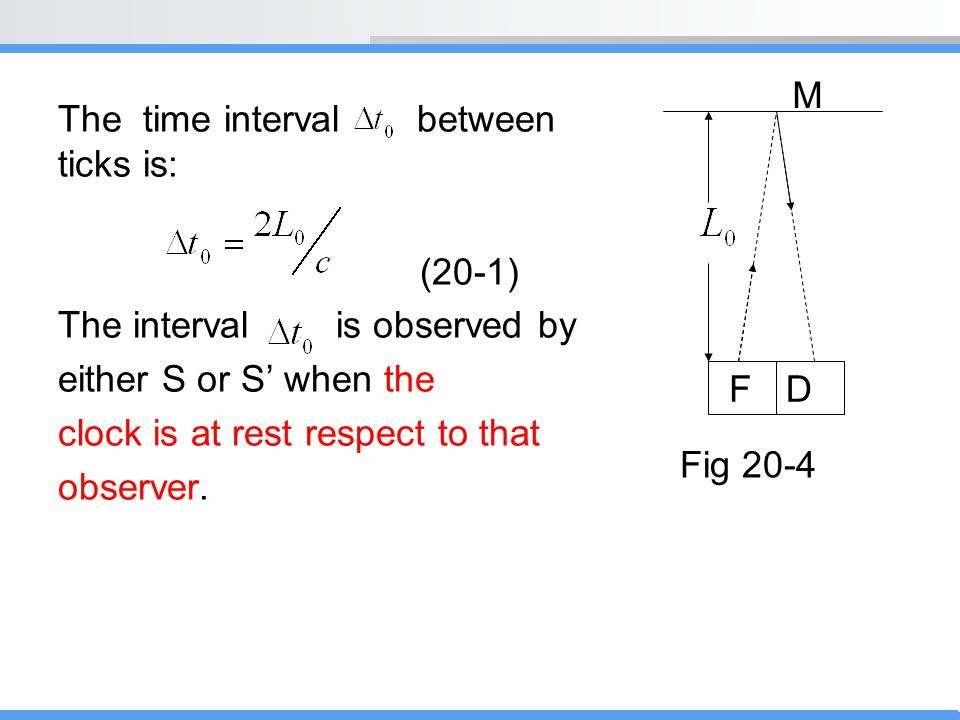 The time interval between ticks is: (20-1) The interval is observed by either S or S' when the clock is at rest respect to that observer. M FD Fig 20-