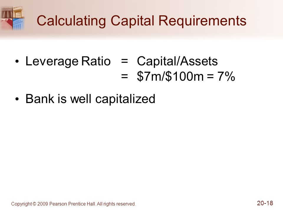 Copyright © 2009 Pearson Prentice Hall. All rights reserved. 20-18 Calculating Capital Requirements Leverage Ratio=Capital/Assets =$7m/$100m = 7% Bank