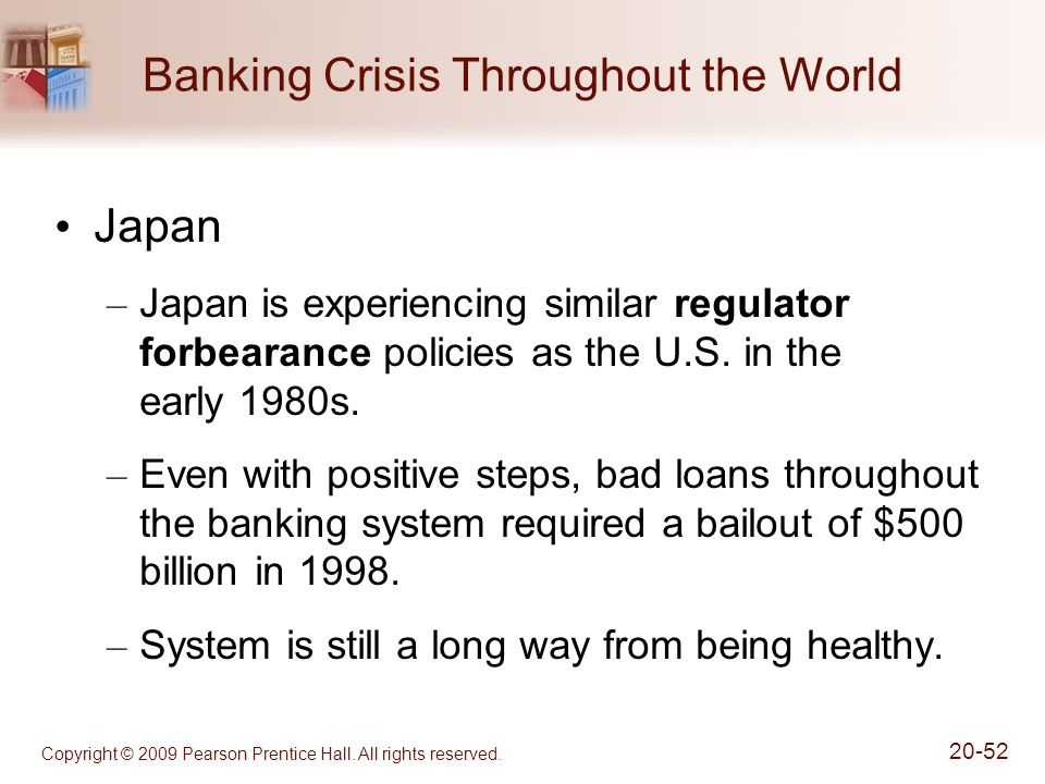 Copyright © 2009 Pearson Prentice Hall. All rights reserved. 20-52 Banking Crisis Throughout the World Japan – Japan is experiencing similar regulator