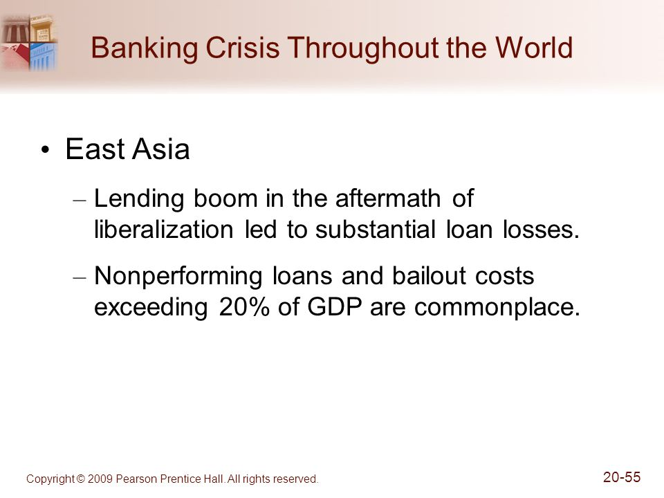 Copyright © 2009 Pearson Prentice Hall. All rights reserved. 20-55 Banking Crisis Throughout the World East Asia – Lending boom in the aftermath of li