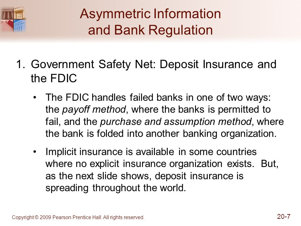 Copyright © 2009 Pearson Prentice Hall. All rights reserved. 20-7 Asymmetric Information and Bank Regulation 1.Government Safety Net: Deposit Insuranc