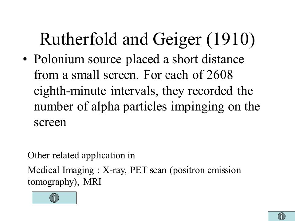 Rutherfold and Geiger (1910) Polonium source placed a short distance from a small screen.