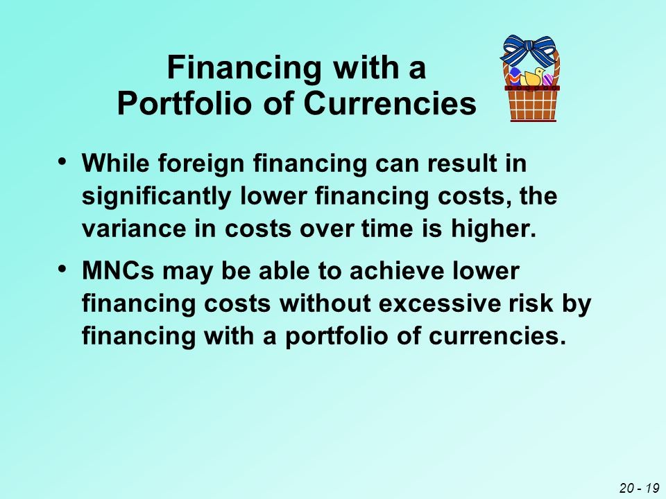 20 - 19 Financing with a Portfolio of Currencies While foreign financing can result in significantly lower financing costs, the variance in costs over time is higher.
