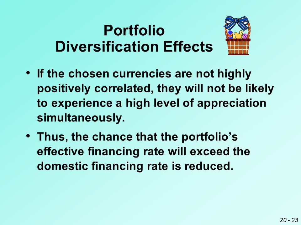 20 - 23 Portfolio Diversification Effects If the chosen currencies are not highly positively correlated, they will not be likely to experience a high level of appreciation simultaneously.