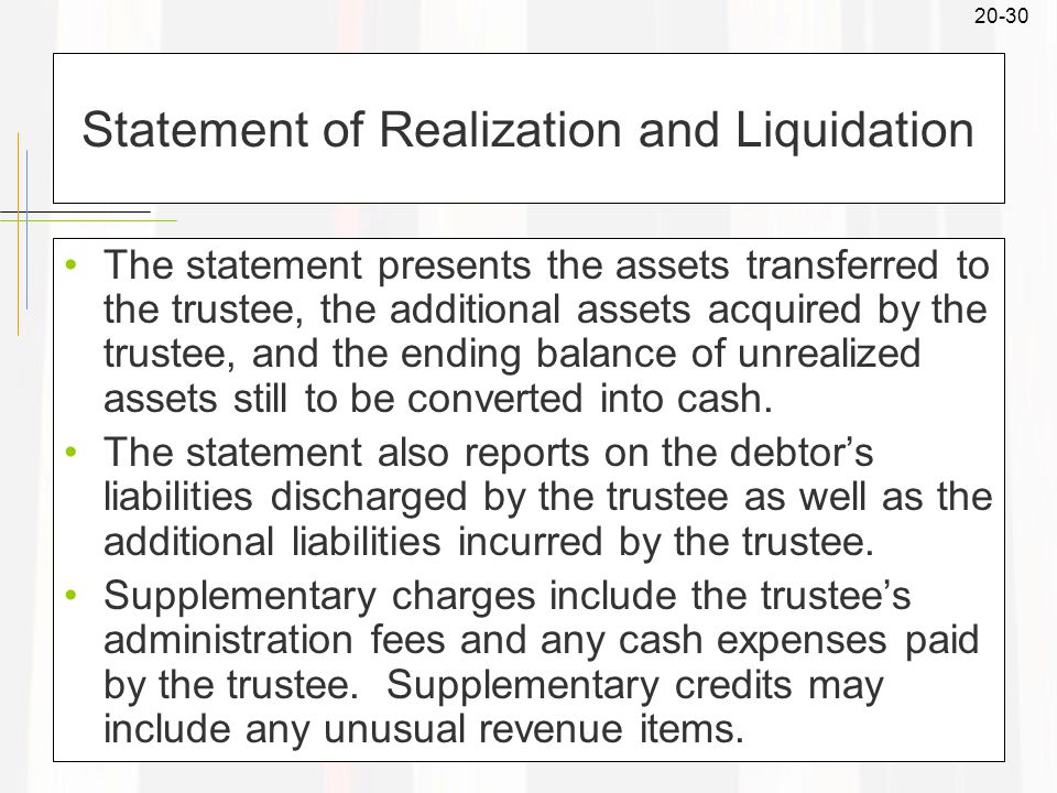 20-30 Statement of Realization and Liquidation The statement presents the assets transferred to the trustee, the additional assets acquired by the trustee, and the ending balance of unrealized assets still to be converted into cash.