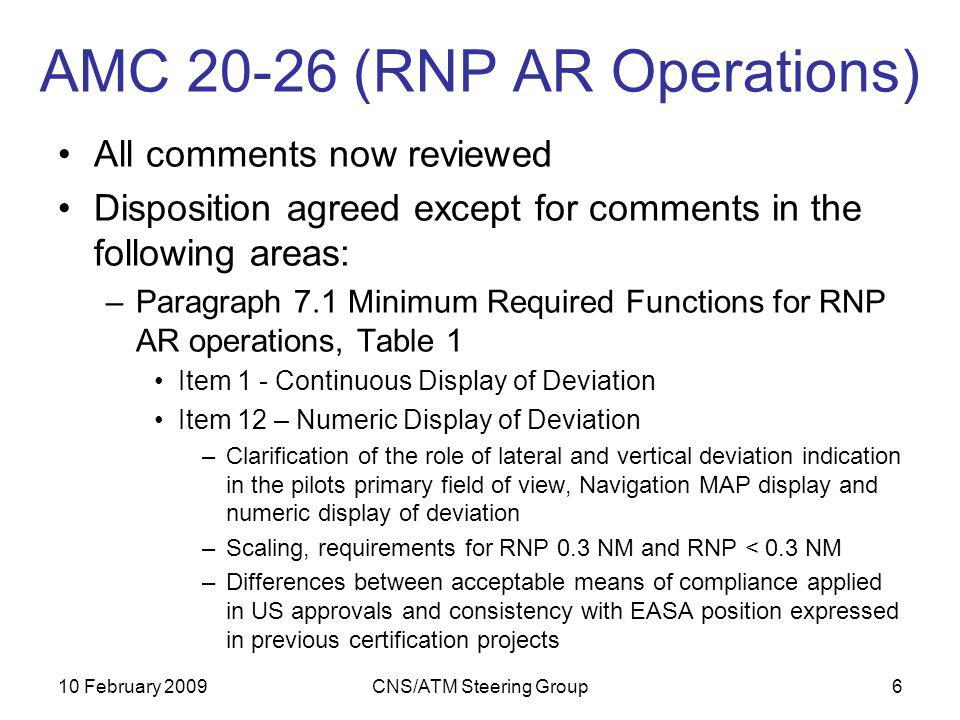 10 February 2009CNS/ATM Steering Group6 AMC 20-26 (RNP AR Operations) All comments now reviewed Disposition agreed except for comments in the following areas: –Paragraph 7.1 Minimum Required Functions for RNP AR operations, Table 1 Item 1 - Continuous Display of Deviation Item 12 – Numeric Display of Deviation –Clarification of the role of lateral and vertical deviation indication in the pilots primary field of view, Navigation MAP display and numeric display of deviation –Scaling, requirements for RNP 0.3 NM and RNP < 0.3 NM –Differences between acceptable means of compliance applied in US approvals and consistency with EASA position expressed in previous certification projects