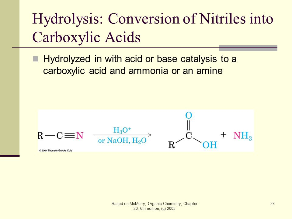 Based on McMurry, Organic Chemistry, Chapter 20, 6th edition, (c) 2003 28 Hydrolysis: Conversion of Nitriles into Carboxylic Acids Hydrolyzed in with acid or base catalysis to a carboxylic acid and ammonia or an amine