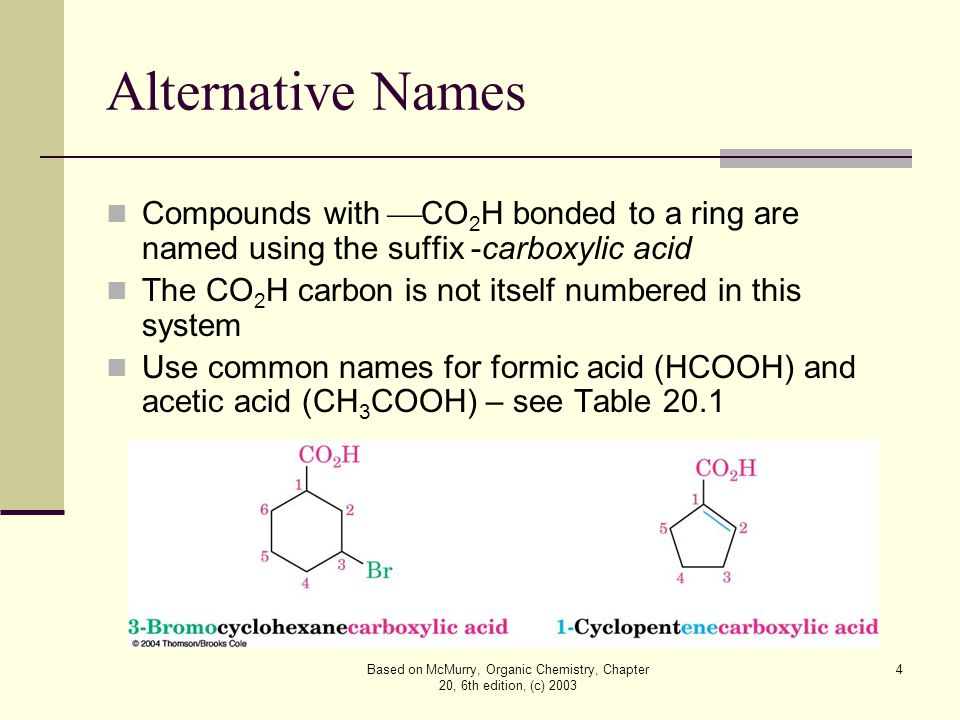 Based on McMurry, Organic Chemistry, Chapter 20, 6th edition, (c) 2003 4 Alternative Names Compounds with  CO 2 H bonded to a ring are named using the suffix -carboxylic acid The CO 2 H carbon is not itself numbered in this system Use common names for formic acid (HCOOH) and acetic acid (CH 3 COOH) – see Table 20.1
