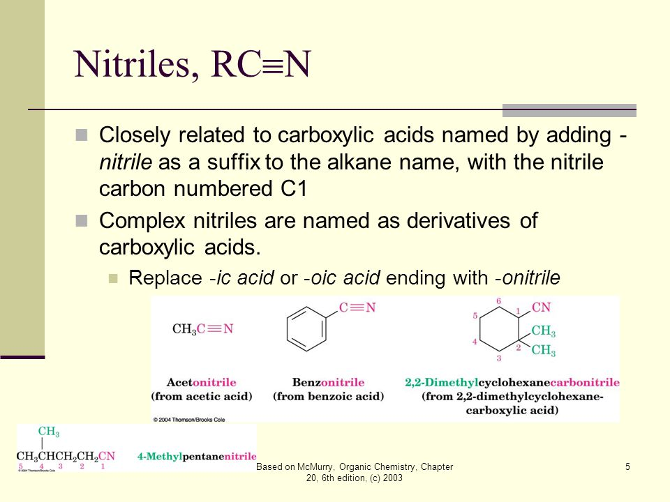 Based on McMurry, Organic Chemistry, Chapter 20, 6th edition, (c) 2003 6 20.2 Structure and Physical Properties of Carboxylic Acids Carboxyl carbon sp 2 hybridized: carboxylic acid groups are planar with C–C=O and O=C–O bond angles of approximately 120° Carboxylic acids form hydrogen bonds, existing as cyclic dimers held together by two hydrogen bonds Strong hydrogen bonding causes much higher boiling points than the corresponding alcohols