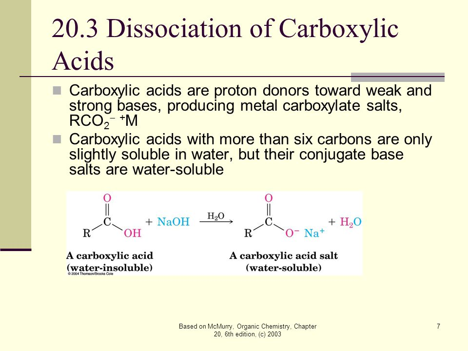 Based on McMurry, Organic Chemistry, Chapter 20, 6th edition, (c) 2003 8 Acidity Constant and pK a Carboxylic acids transfer a proton to water to give H 3 O + and carboxylate anions, RCO 2 , but H 3 O + is a much stronger acid The acidity constant, K a,, is about 10 -5 for a typical carboxylic acid (pK a ~ 5)