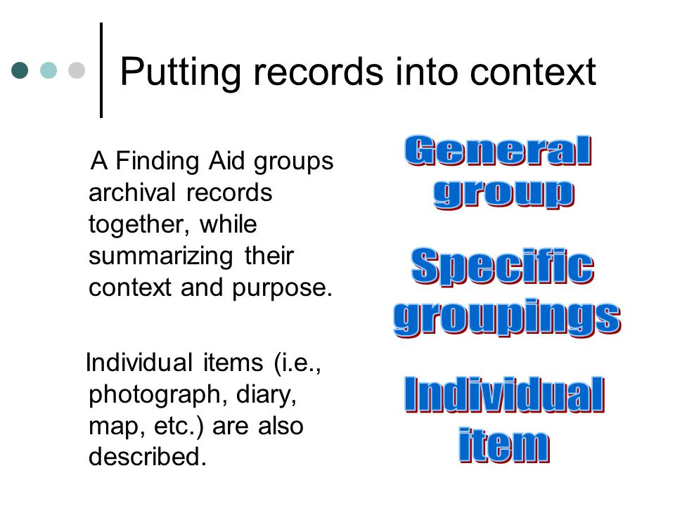 Where to start Start by reading the first section, or general description, of the records and the list of subjects included to determine if the records will assist your research.