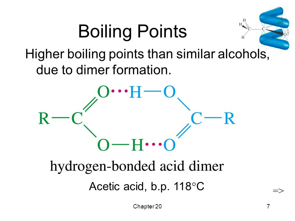 Chapter 207 Boiling Points Higher boiling points than similar alcohols, due to dimer formation. Acetic acid, b.p. 118  C =>