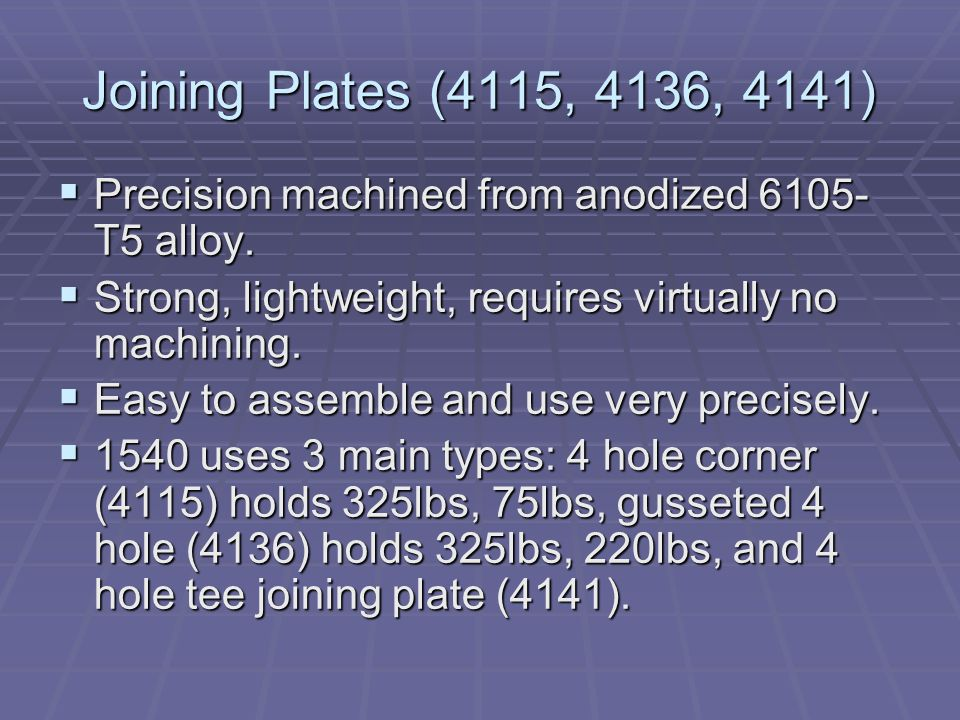 Joining Plates (4115, 4136, 4141)  Precision machined from anodized 6105- T5 alloy.