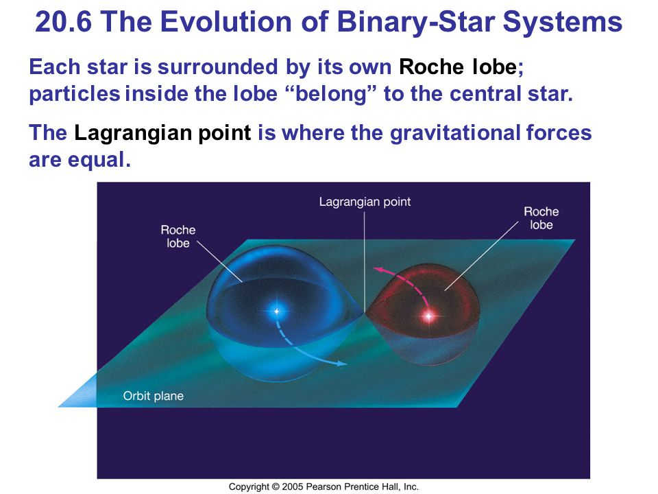 "20.6 The Evolution of Binary-Star Systems Each star is surrounded by its own Roche lobe; particles inside the lobe ""belong"" to the central star. The L"