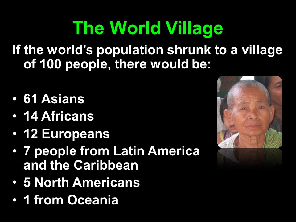 The World Village If the world's population shrunk to a village of 100 people, there would be: 61 Asians 14 Africans 12 Europeans 7 people from Latin