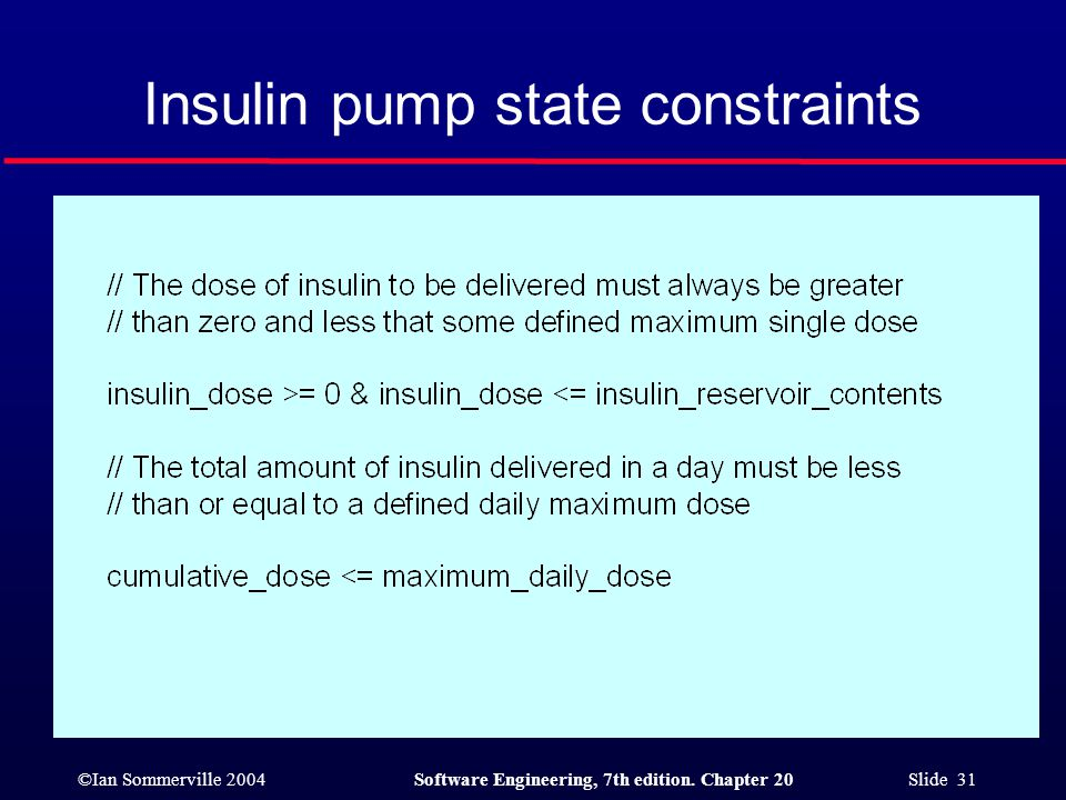 ©Ian Sommerville 2004Software Engineering, 7th edition. Chapter 20 Slide 31 Insulin pump state constraints