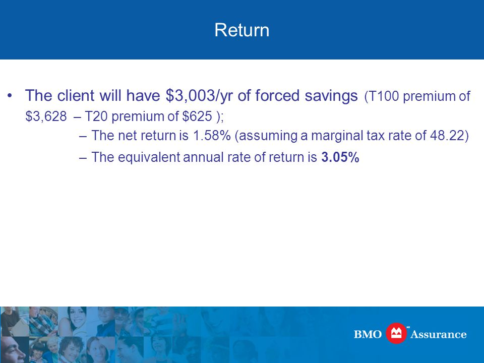 Return The client will have $3,003/yr of forced savings (T100 premium of $3,628 – T20 premium of $625 ); –The net return is 1.58% (assuming a marginal tax rate of 48.22) –The equivalent annual rate of return is 3.05%
