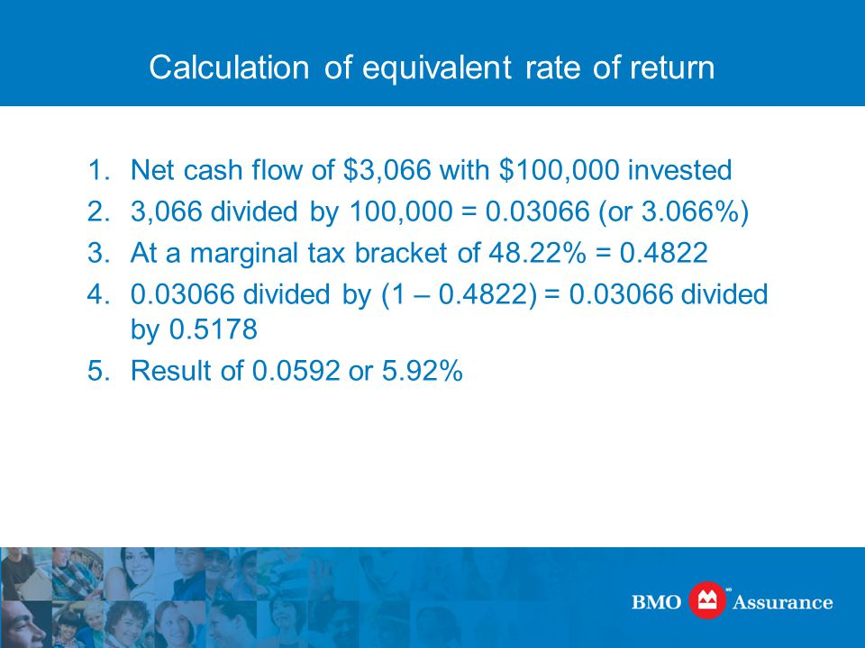 Calculation of equivalent rate of return 1.Net cash flow of $3,066 with $100,000 invested 2.3,066 divided by 100,000 = 0.03066 (or 3.066%) 3.At a marginal tax bracket of 48.22% = 0.4822 4.0.03066 divided by (1 – 0.4822) = 0.03066 divided by 0.5178 5.Result of 0.0592 or 5.92%