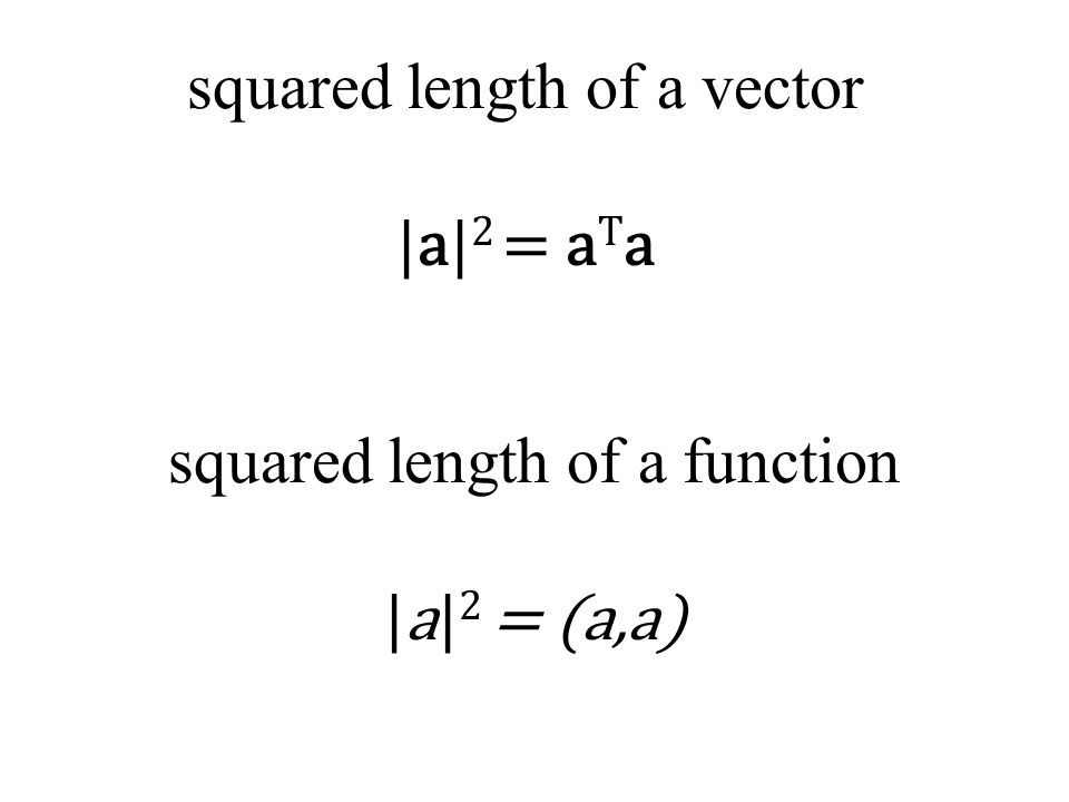 squared length of a vector |a| 2 = a T a squared length of a function |a| 2 = (a,a)