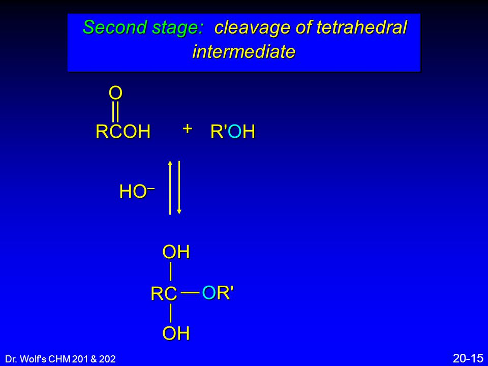 Dr. Wolf's CHM 201 & 202 20-15 Second stage: cleavage of tetrahedral intermediate RCOHOH OR' + R'OH RCOHO HO –