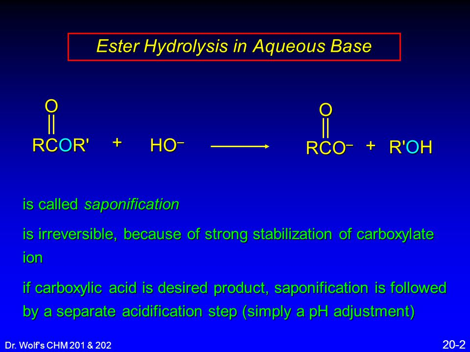 Dr. Wolf's CHM 201 & 202 20-2 is called saponification is irreversible, because of strong stabilization of carboxylate ion if carboxylic acid is desir