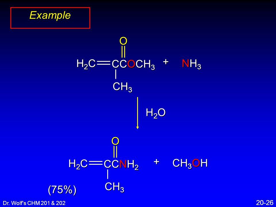 Dr. Wolf's CHM 201 & 202 20-26 Example (75%) + CCNH 2 CH 3 O H2CH2CH2CH2C CH 3 OH CCOCH 3 CH 3 O H2CH2CH2CH2C + NH3NH3NH3NH3 H2OH2OH2OH2O