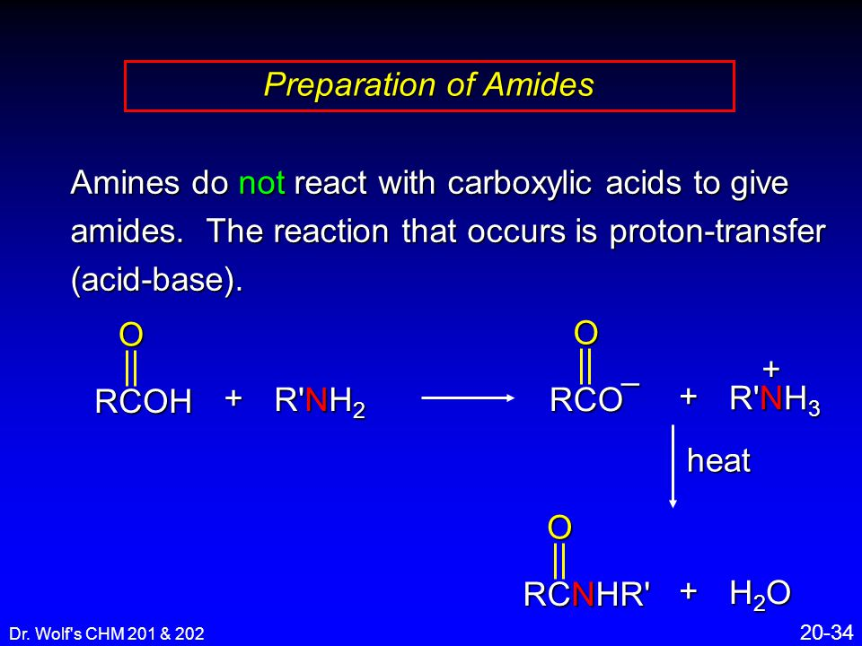 Dr. Wolf's CHM 201 & 202 20-34 Preparation of Amides Amines do not react with carboxylic acids to give amides. The reaction that occurs is proton-tran
