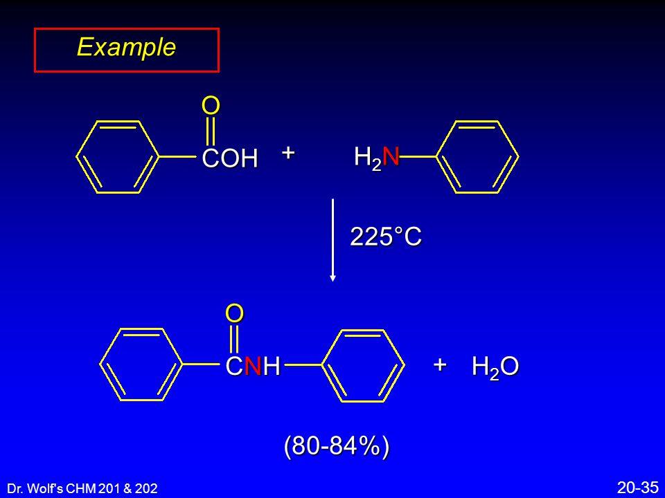 Dr. Wolf's CHM 201 & 202 20-35 Example COHO+ H2NH2NH2NH2N 225°C + H2OH2OH2OH2O (80-84%) CNHCNHCNHCNHO