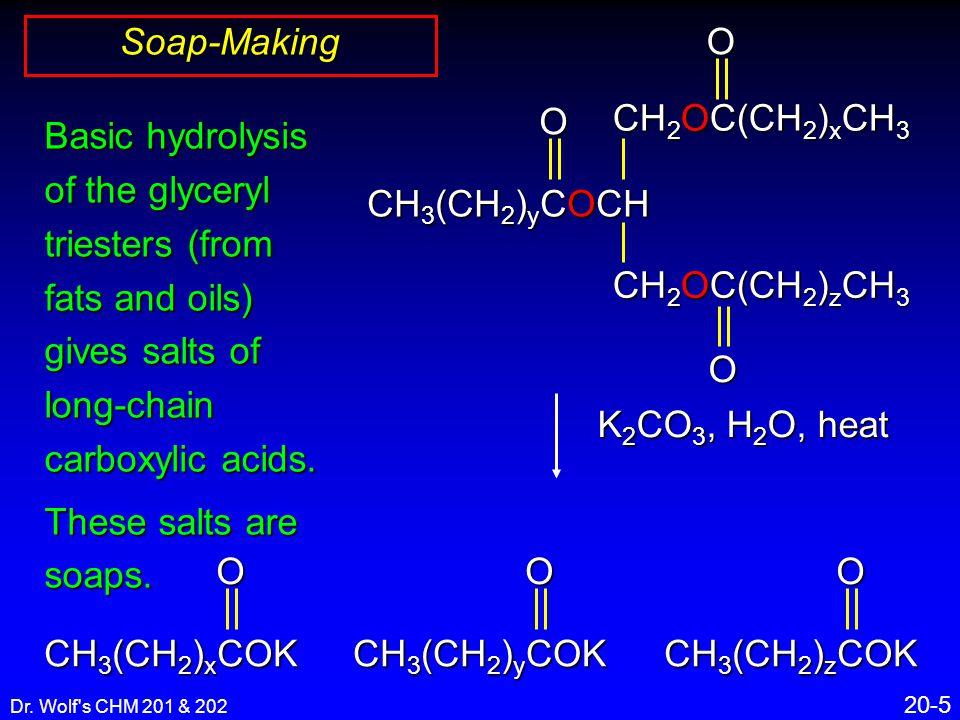 Dr. Wolf's CHM 201 & 202 20-5 Soap-Making CH 3 (CH 2 ) y COCH CH 2 OC(CH 2 ) x CH 3 O CH 2 OC(CH 2 ) z CH 3 O O Basic hydrolysis of the glyceryl tries