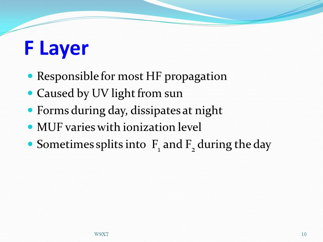F Layer Responsible for most HF propagation Caused by UV light from sun Forms during day, dissipates at night MUF varies with ionization level Sometimes splits into F 1 and F 2 during the day 10W9XT