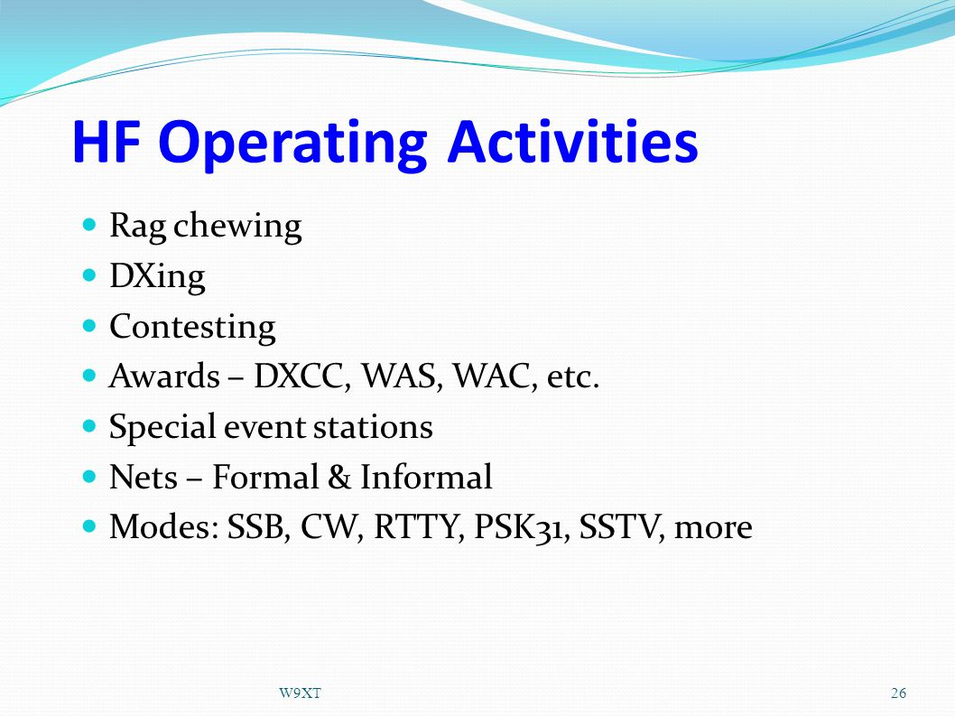 HF Operating Activities Rag chewing DXing Contesting Awards – DXCC, WAS, WAC, etc.